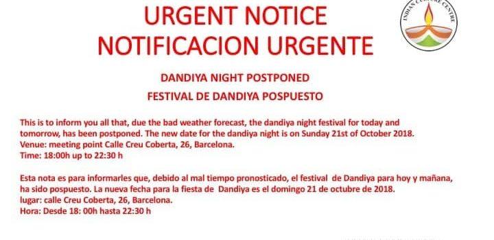 Cancelación Dandiya días 13 y 14 de octubre